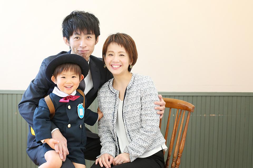 入園記念の家族写真