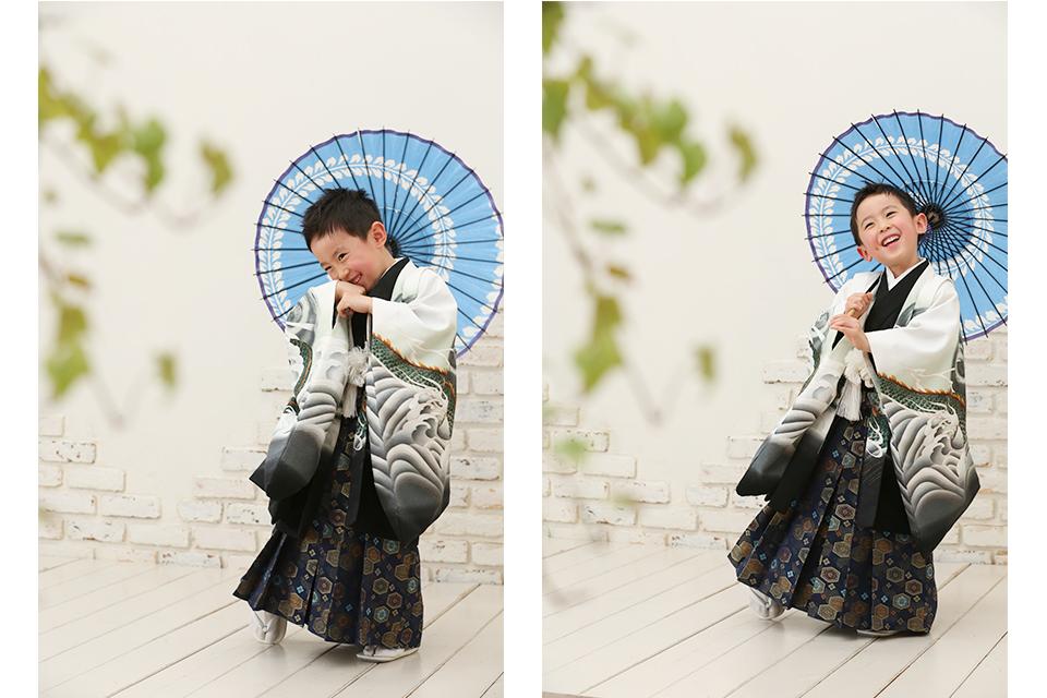 着物と和傘で七五三